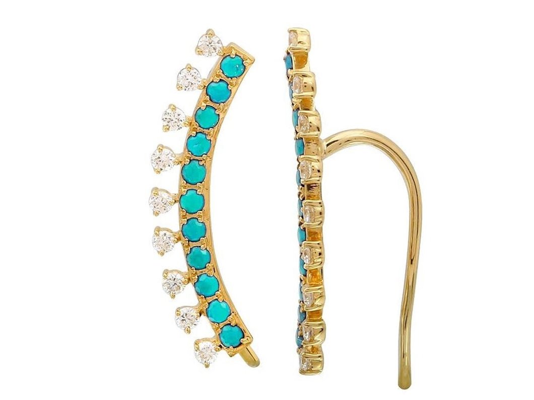 Diamond and Turquoise Ear Crawlers