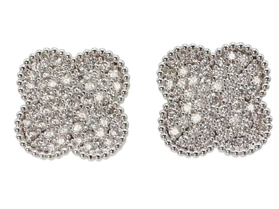 Silver Clover Stud Earrings with CZs