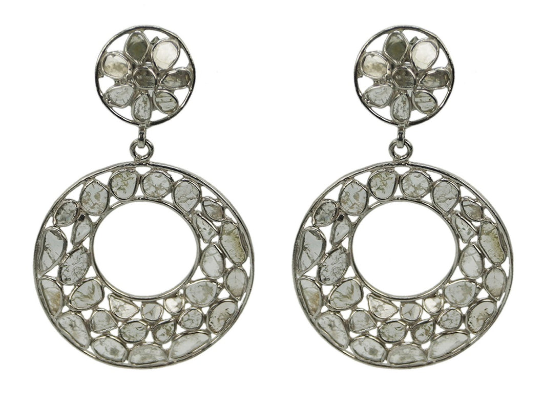Diamond Slice Circle Drop Earrings