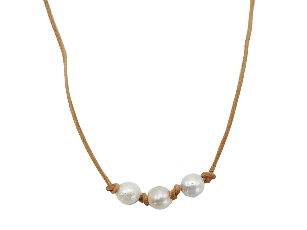 Three White Pearls on Natural Leather Necklace