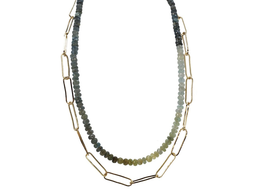 Ombre Aquamarine Double Layer Necklace