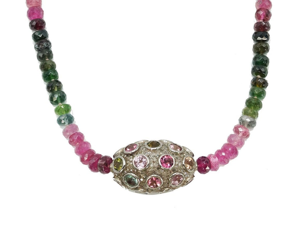 Multicolor Tourmaline Bead Necklace with Diamonds