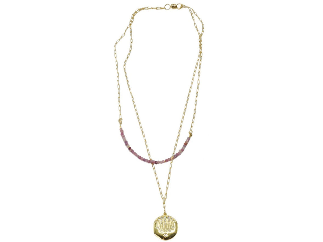 Double Strand Pink Ruby Charm Necklace