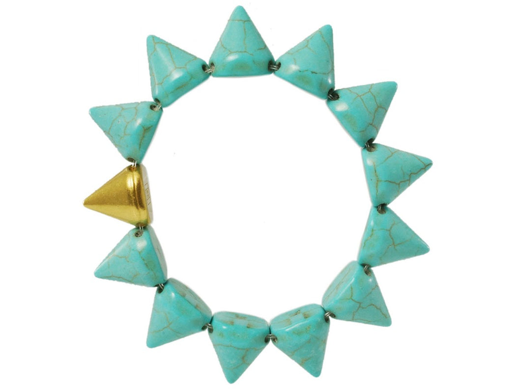 Turquoise Howlite and Gold Spike Bracelet