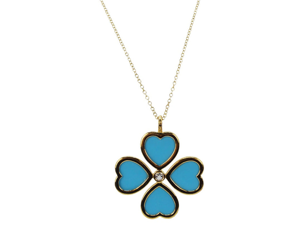 Turquoise Heart Clover Charm Necklace