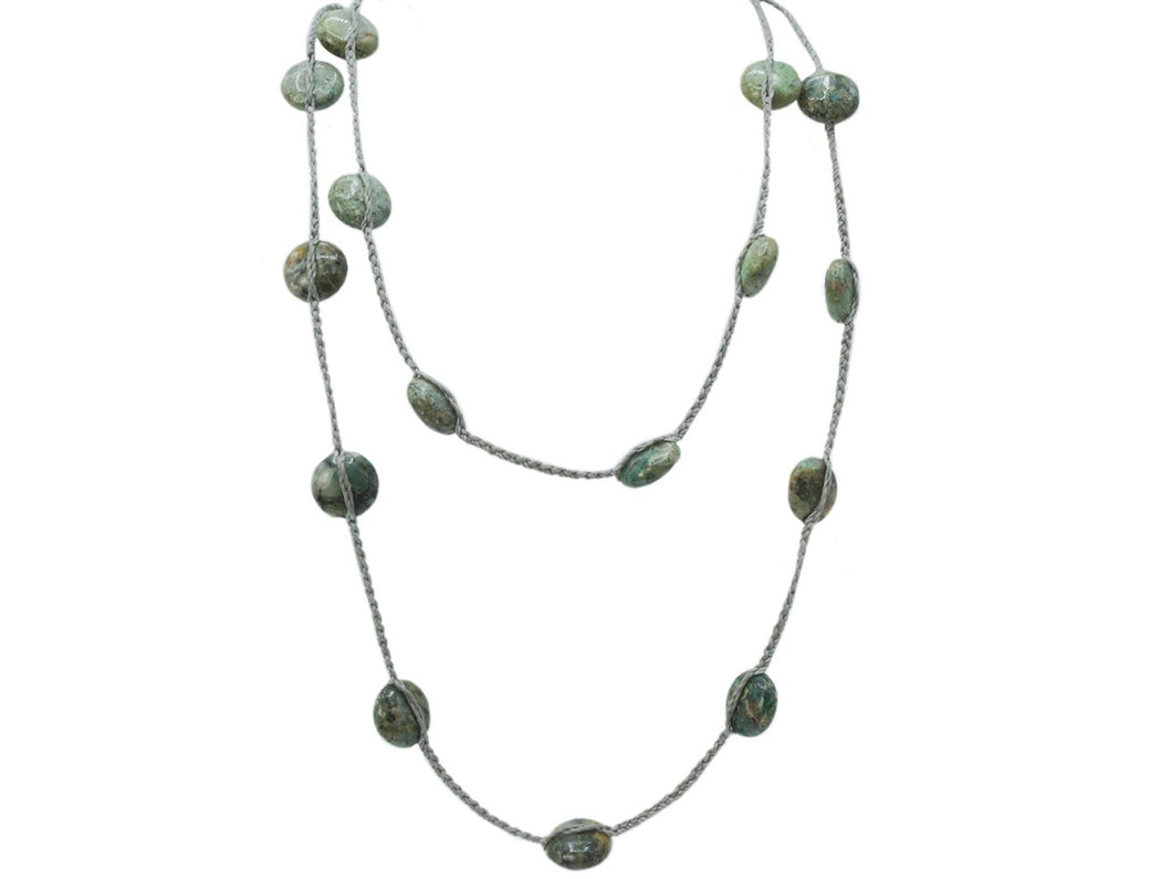 African Jade on Gray Cord Necklace