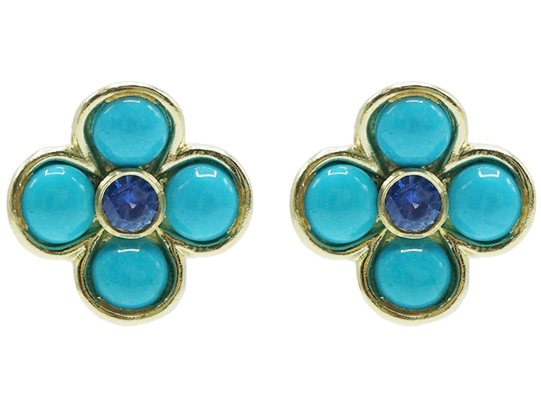 Sapphire and Turquoise Flower Clip Earrings