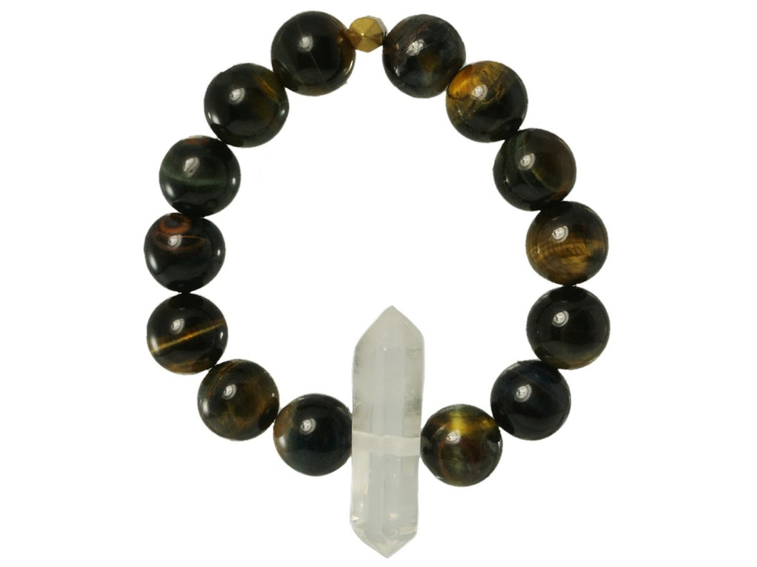 Clear Crystal Quartz Point with Tiger Eye Bracelet