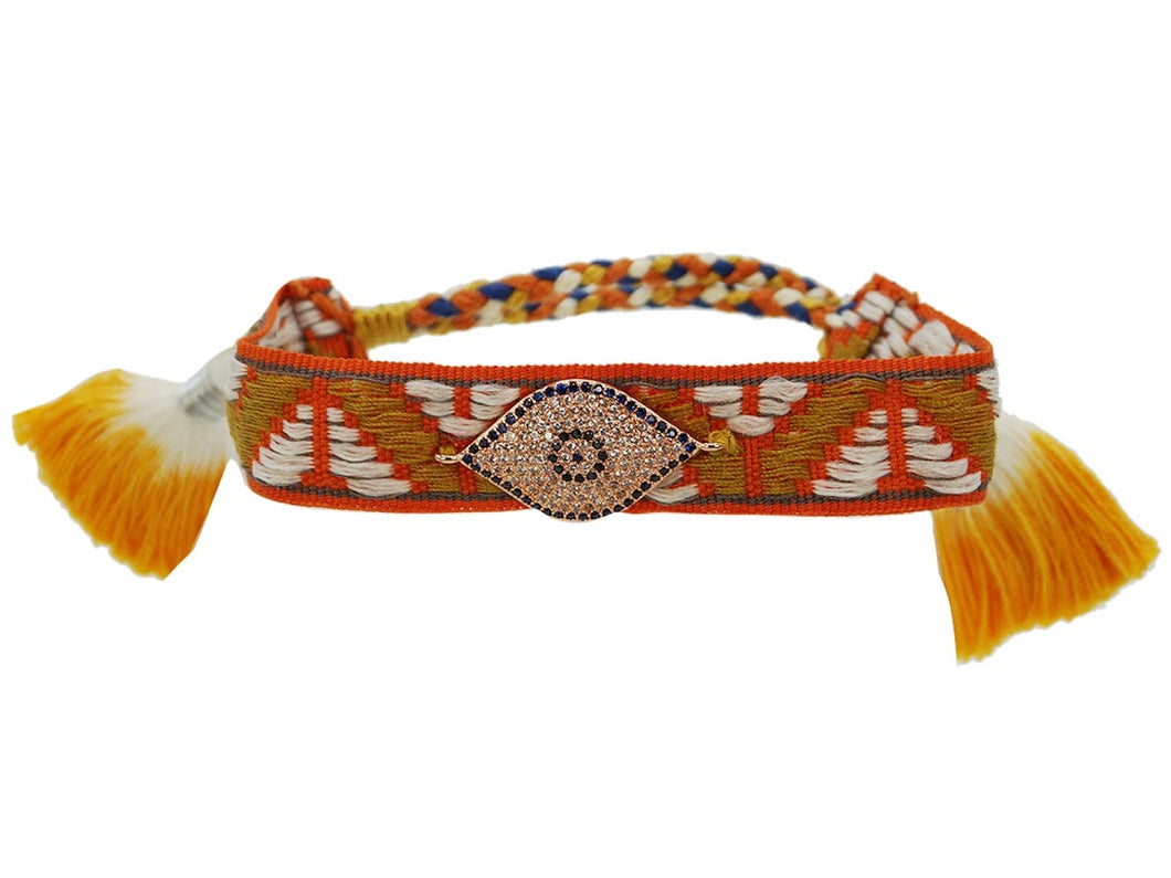 Orange Woven Evil Eye Bracelet with Tassels