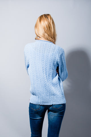 Hepburn V Neck Cable Sweater