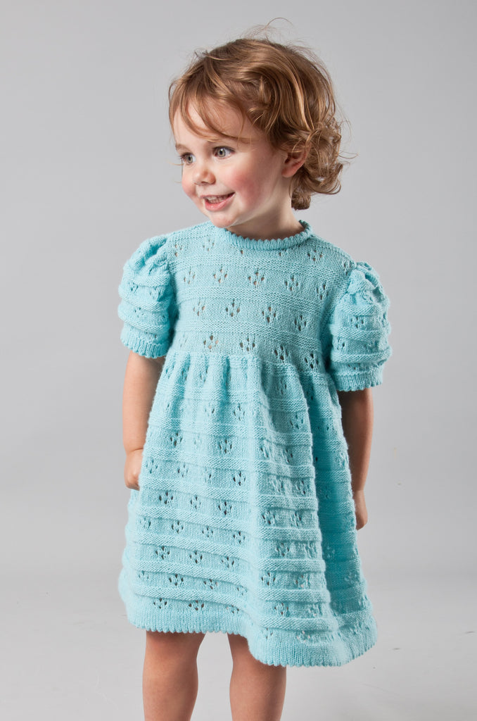 Daisy Bands Dress - Deep Aqua