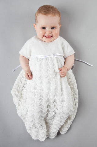 Feather & Fan Christening Gown - Snowdrop