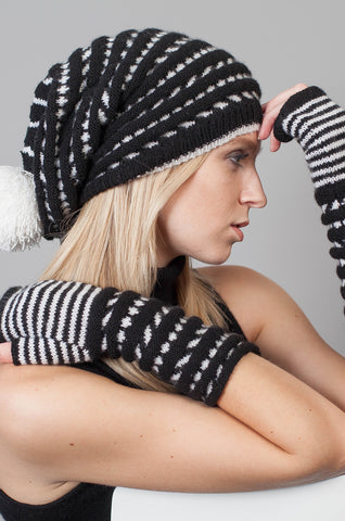 Florence Hat and Fingerless Gloves - Jet - Snowdrop