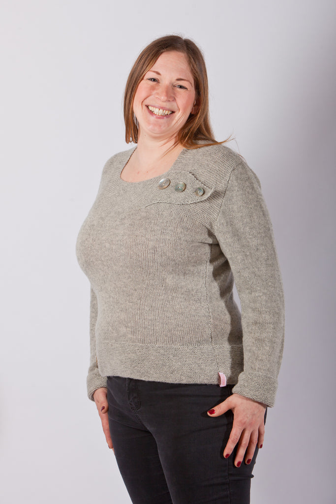 Crawford Garter Band Sweater Sample in Mist