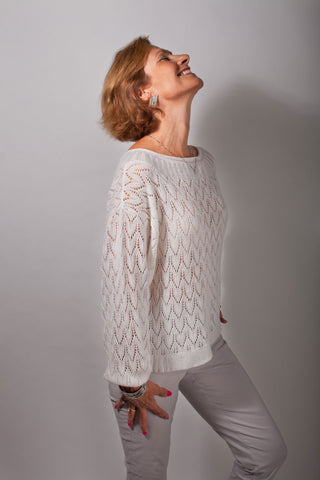 Negri Loose and Lacy Sweater Sample in Snowdrop