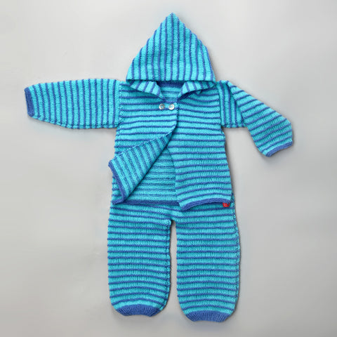 Garter Stripe Jacket & Rompers - Deep Aqua - True Blue