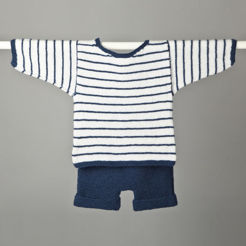 Garter Stripe T Shirt & Shorts - Snowdrop - French Navy