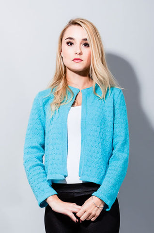 'Hayworth' Cropped Jacket - Deep Aqua