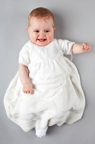 Hearts & Flowers Christening Gown - Snowdrop