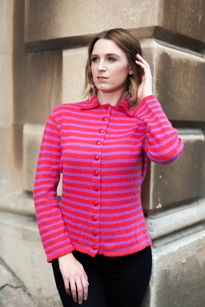 Lamarr Striped Cardigan Sample in Strawberry & Cerise