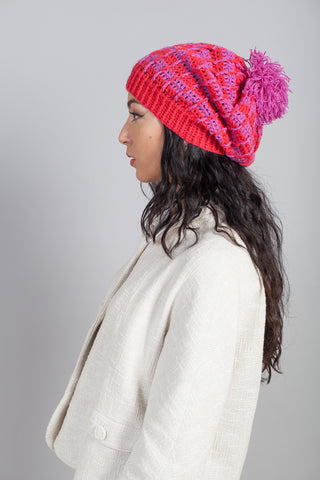 Trieste Hat Sample in Cerise & Strawberry