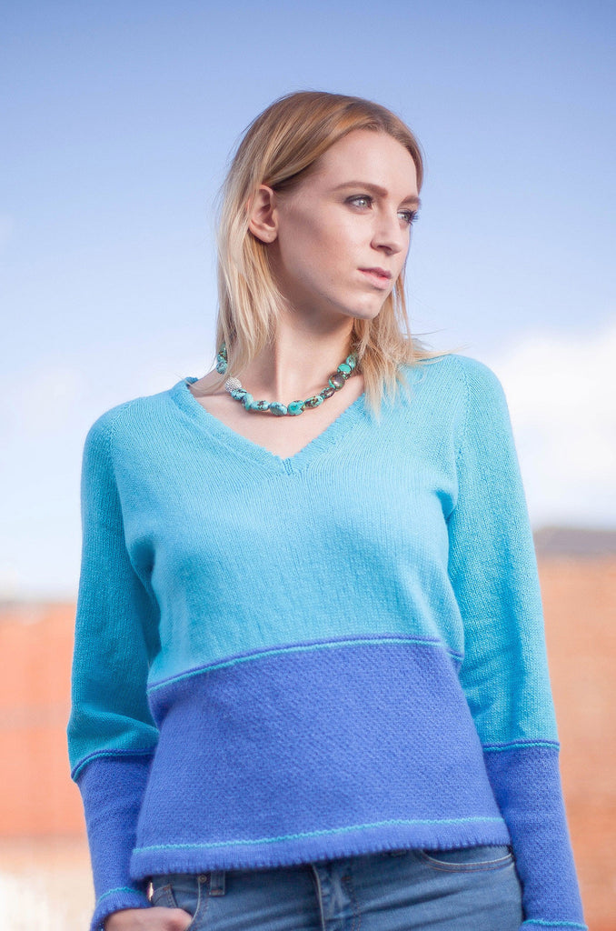 Lake Slimline V Neck Raglan Sweater Sample in Deep Aqua & Soft Sapphire