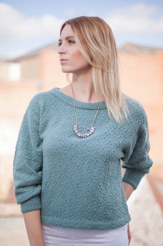Lombard Diamond Crop Sweater - Sage