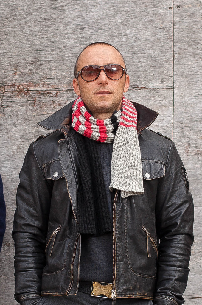 Milan `Rib` Scarf - Mist - Strawberry - Jet