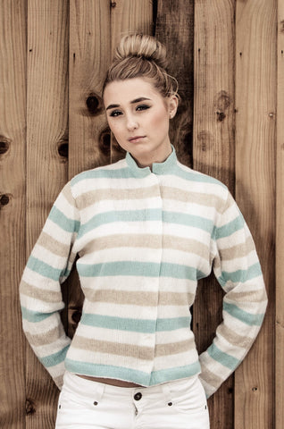 `Rodgers` Slimline Stripe Cardigan - Snowdrop - Pale Aqua - Natural
