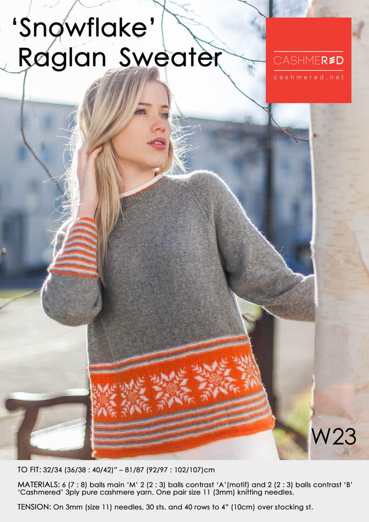 Snowflake Raglan Sweater - Pattern Download
