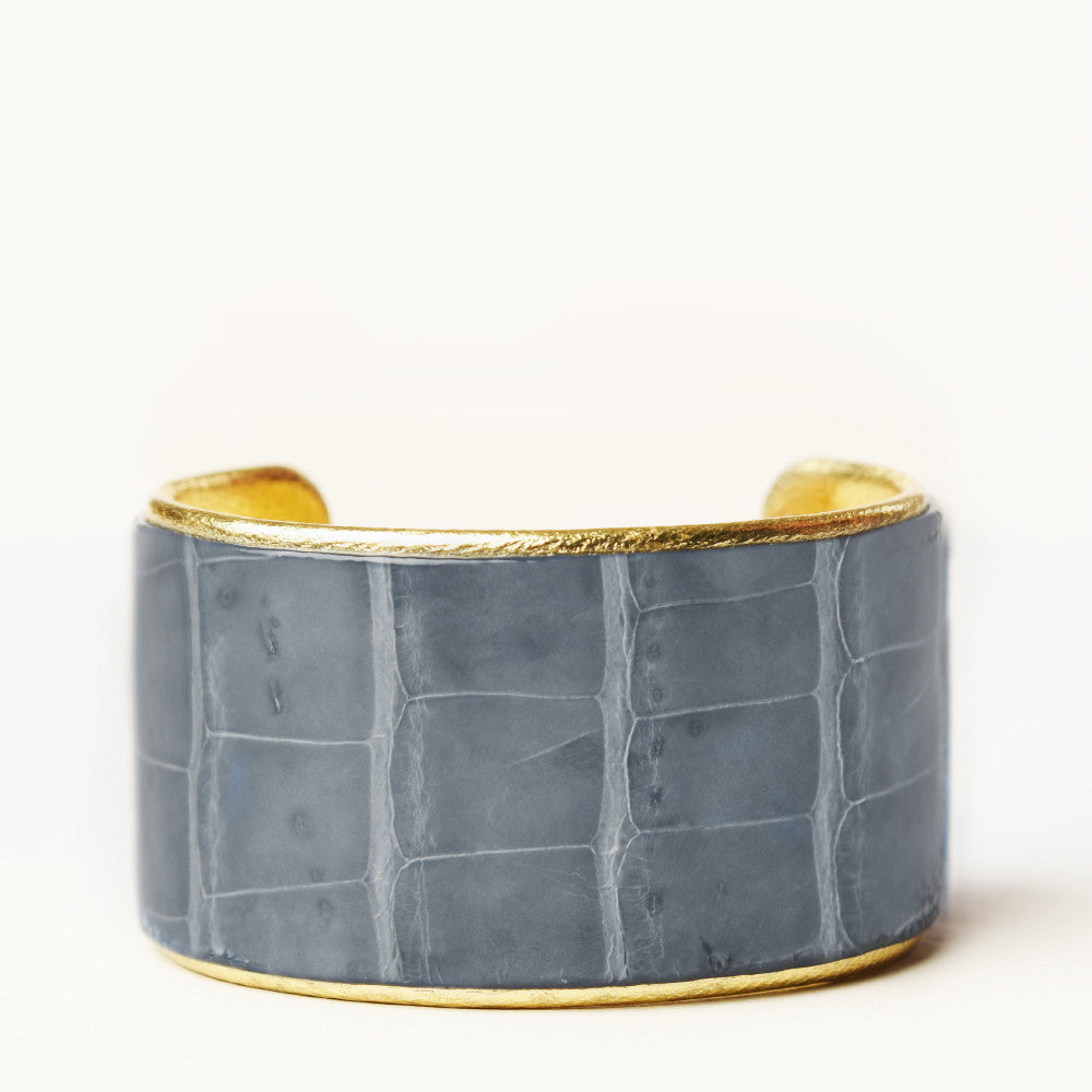 "1.5"" Gray Alligator Cuff with Gold Liner"