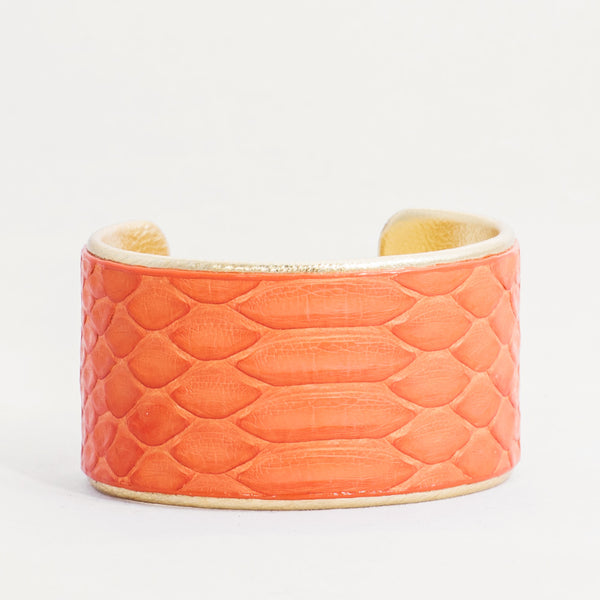"1.5"" Bright Orange Python with Gold Liner Cuff"