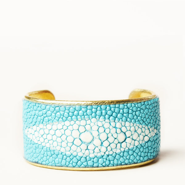 "1.5"" Turquoise Protective Eye Cuff with Gold Liner"