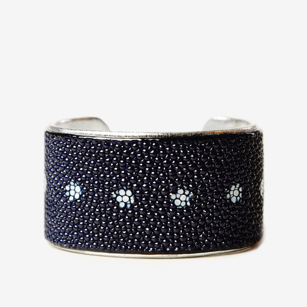 "1.5"" Navy Floret Cuff with Silver Liner"