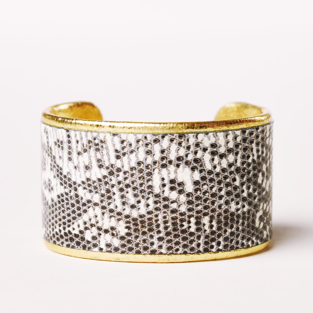 "1.5"" Gray/White/Black Lizard with Gold Liner Cuff"