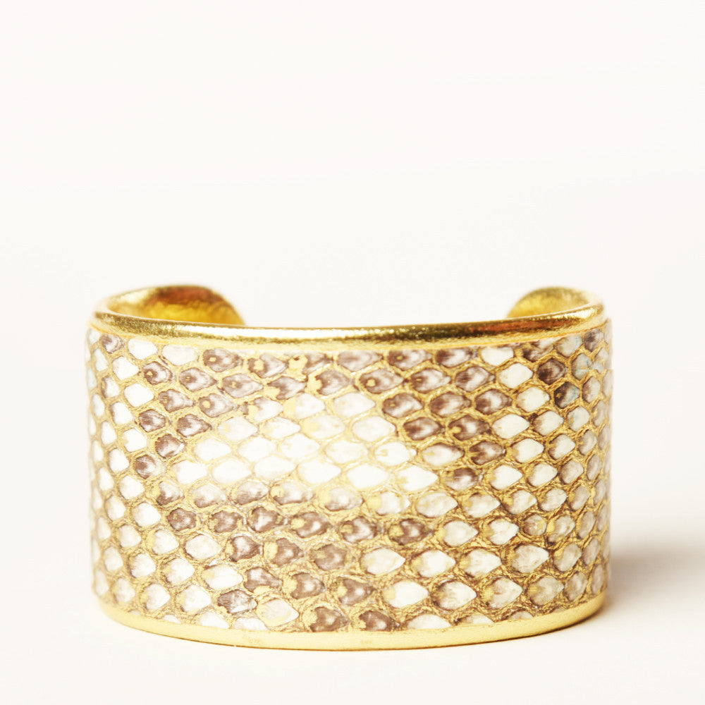 "1.5"" Cashmere Ruffle Cuff with Gold Liner"