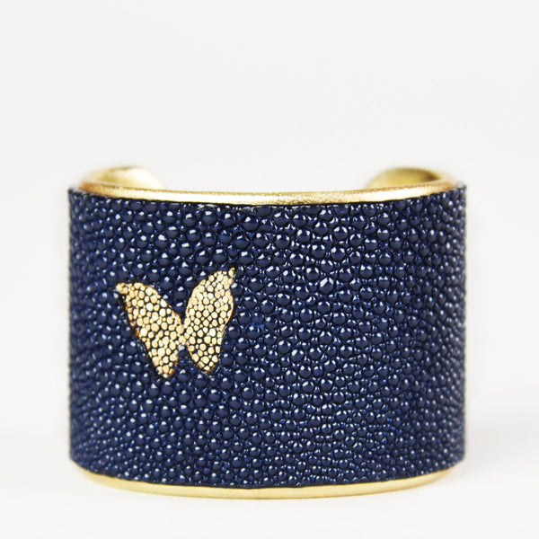 "NEW - 2"" Navy Cuff / Gold Butterfly with Gold Liner"