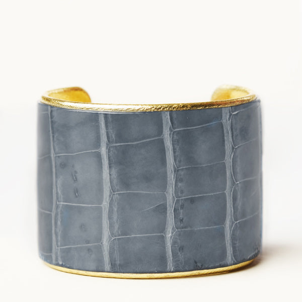 "2"" Gray Alligator Cuff with Gold Liner"