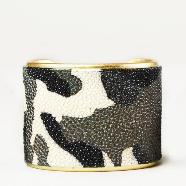 "2"" Camo Patterned Cuff with Gold Liner"