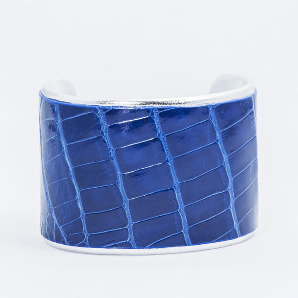 "2"" Shiny Royal Blue Alligator with Silver Liner Cuff"