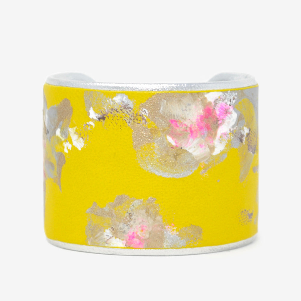 Silver White Pink Floral on Canary Yellow Leather
