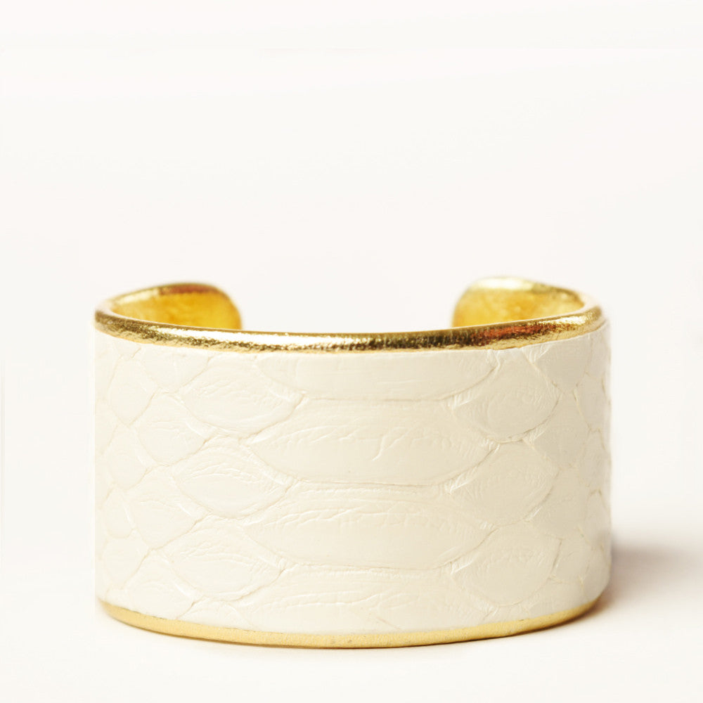 "1.5"" Pearl Python Cuff with Gold Liner"