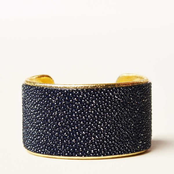 "1.5"" Navy Metallic Cuff with Gold Liner"
