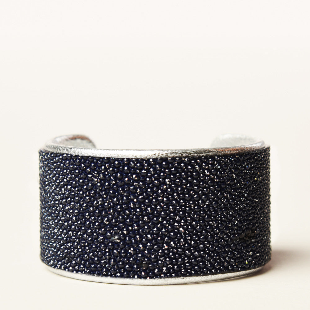 "1.5"" Navy Metallic Cuff with Silver Liner"