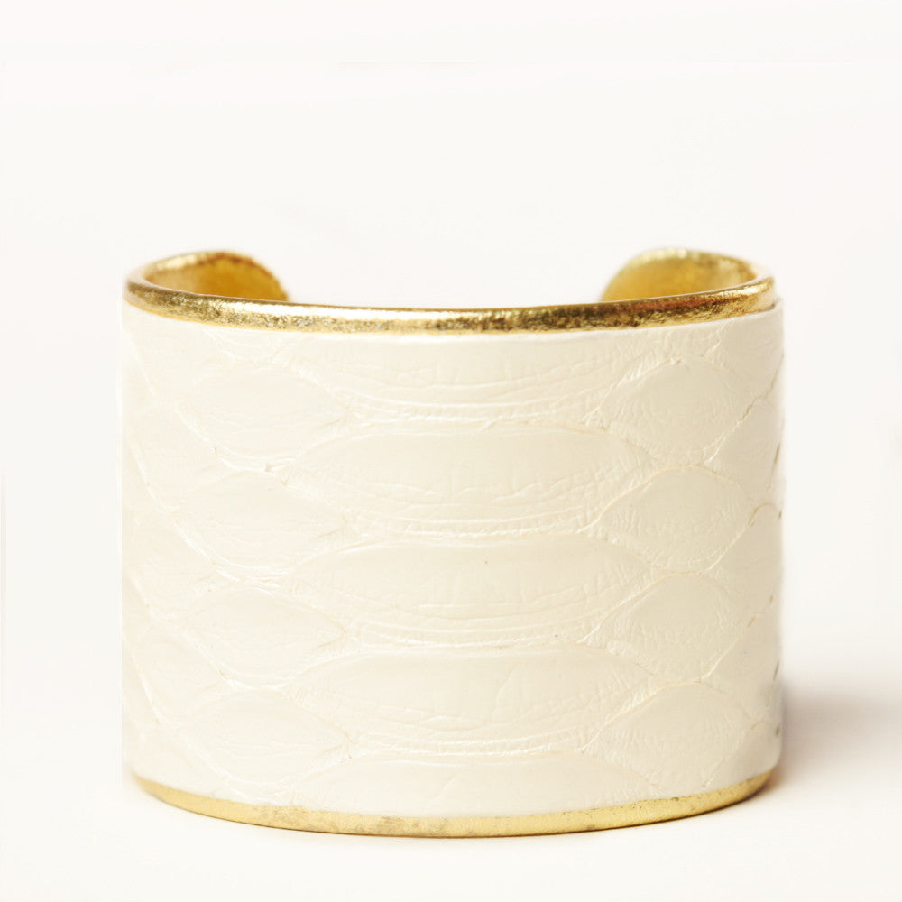 "2"" Pearl Python Cuff with Gold Liner"