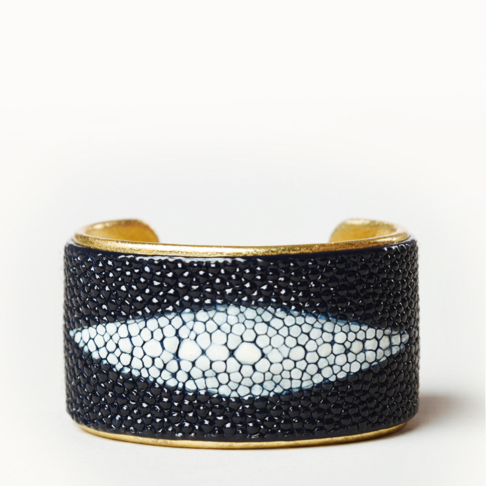 "NEW - 1.5"" Navy Protective Eye Cuff with Gold Liner"