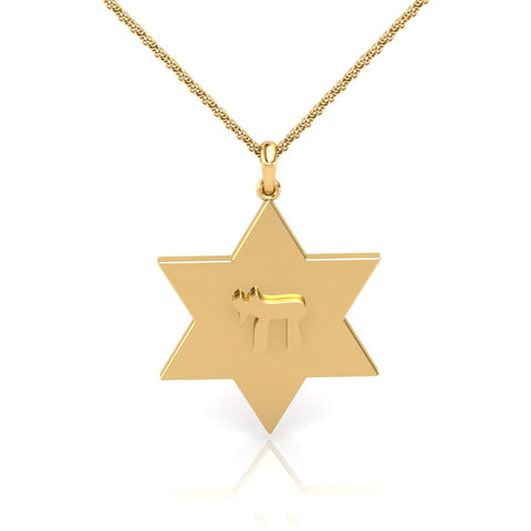 Star of David with Chai Symbol Gold Pendant