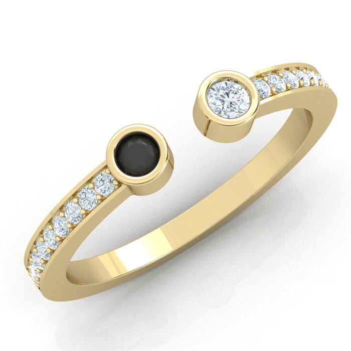 Harmony Bend Ring with Natural Gemstones or diamonds