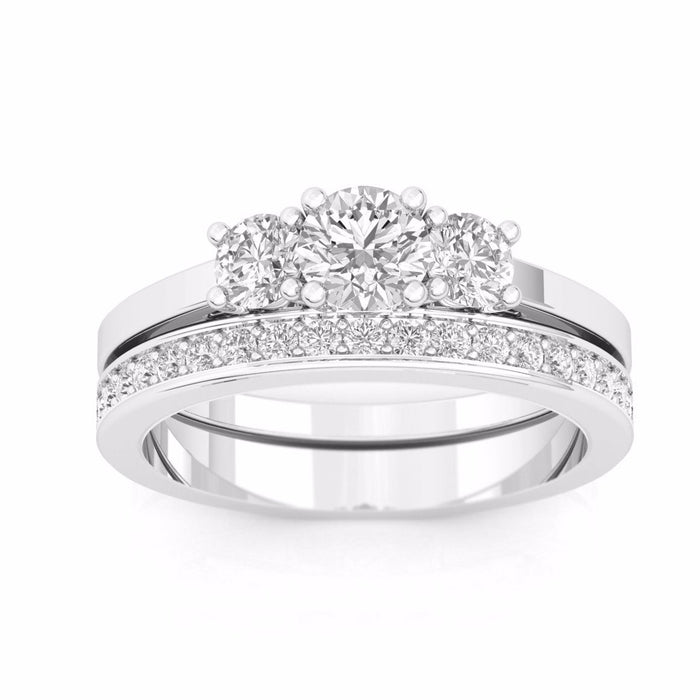 Round Brilliant 1.0 ct VVS2 Clarity H Color Diamond White Gold Three Stone Wedding Set