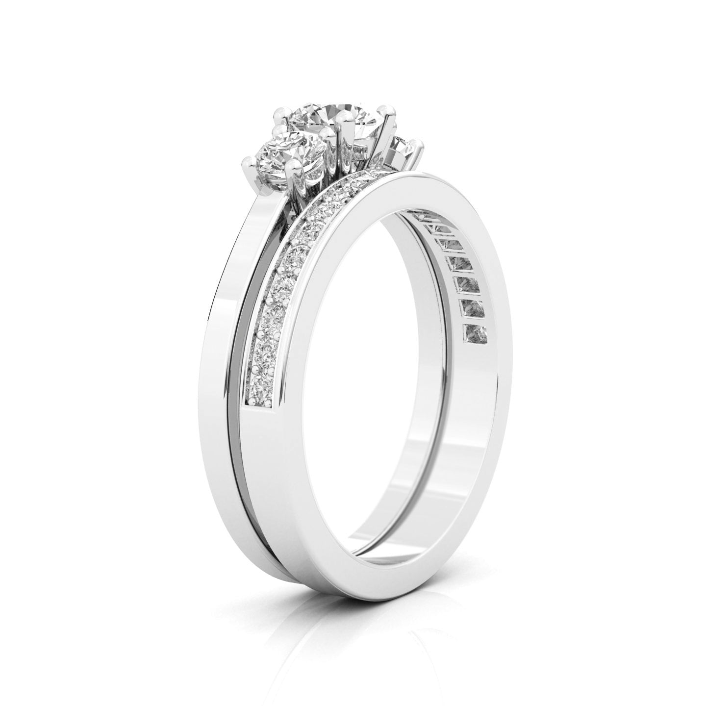side halo with ring gia carat shank in cut preset certified profile diamond platinum engagement standing pave asscher h